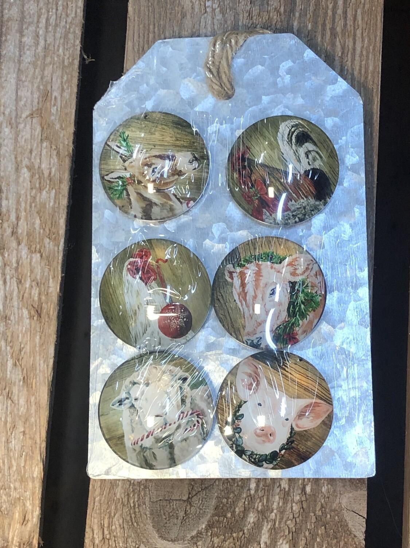 Set/6 Farm Christmas Magnets