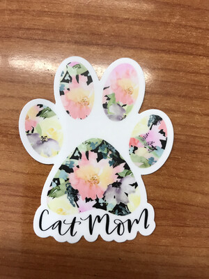 Floral Cat Mom Sticker