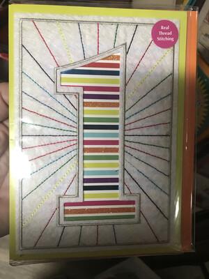 1 with Rainbow Stripes Card