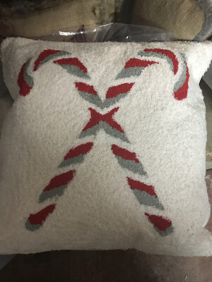 Candy Canes Hooked Pillow