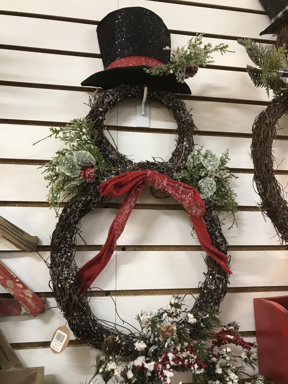 Iced Snowman Wreath