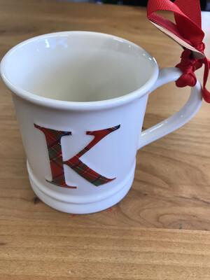 Plaid Initial Mug K