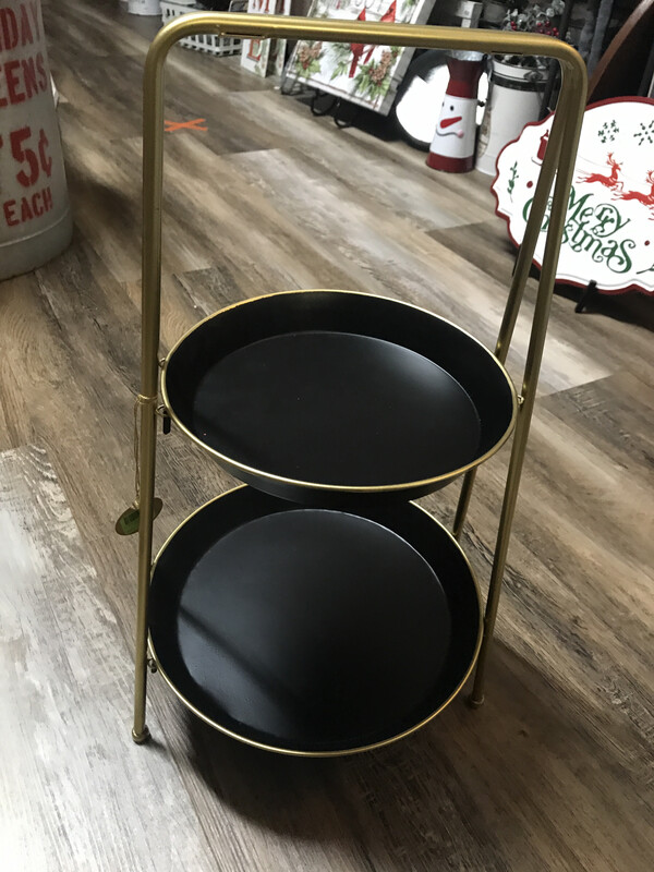 2 Tiered Round Black Tray