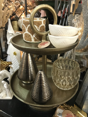"""13"""" Gold 2 Tiered Tray"""