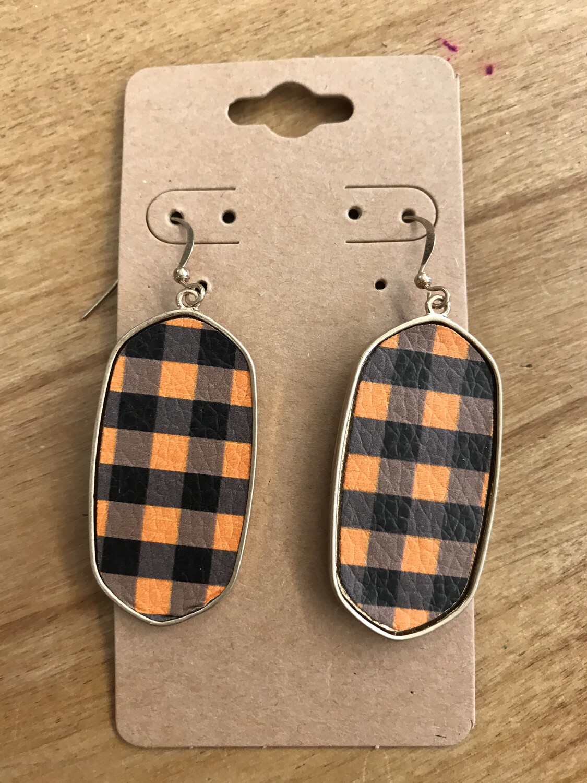 Orange/Black Plaid Earring