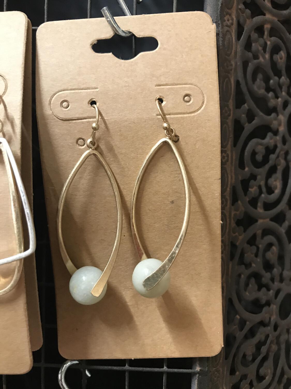 Semi Precious Ball Earring