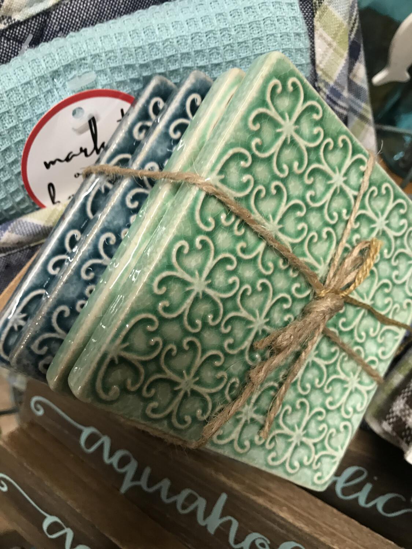 Embossed Stoneware Coasters