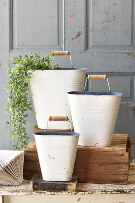 Whitewashed Wall Buckets