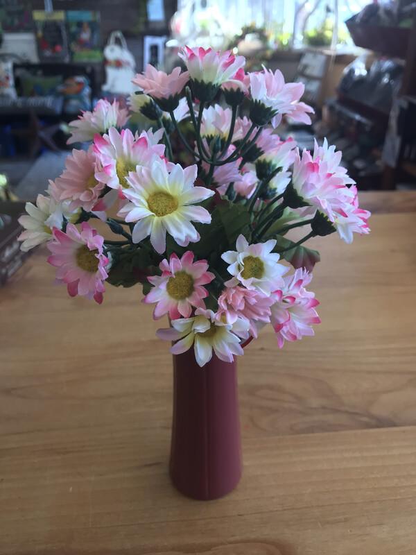 Burgundy Vase w/Pink