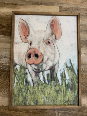24 x 17 Framed Pig Decor