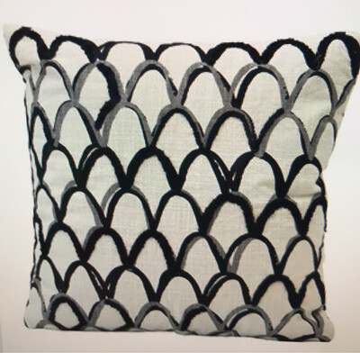 """18"""" Scalloped Embroidered Pillow"""
