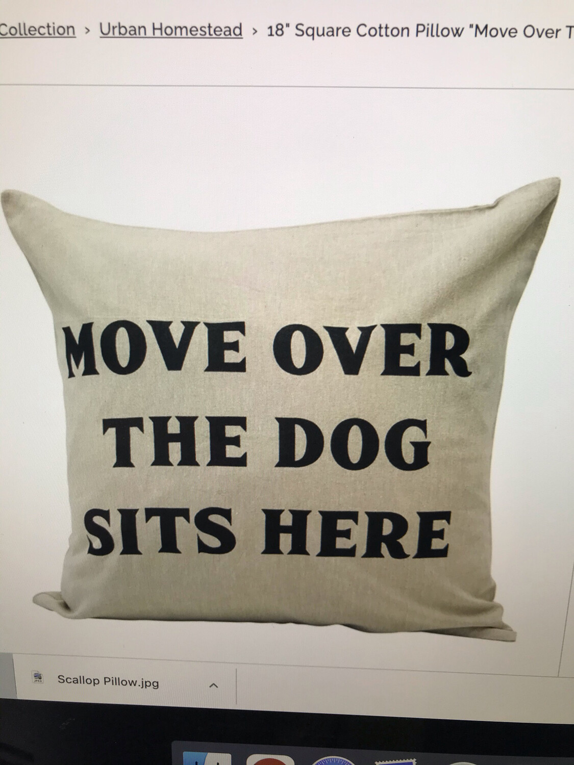 """18"""" """"The Dog SIts Here"""" Pillow"""