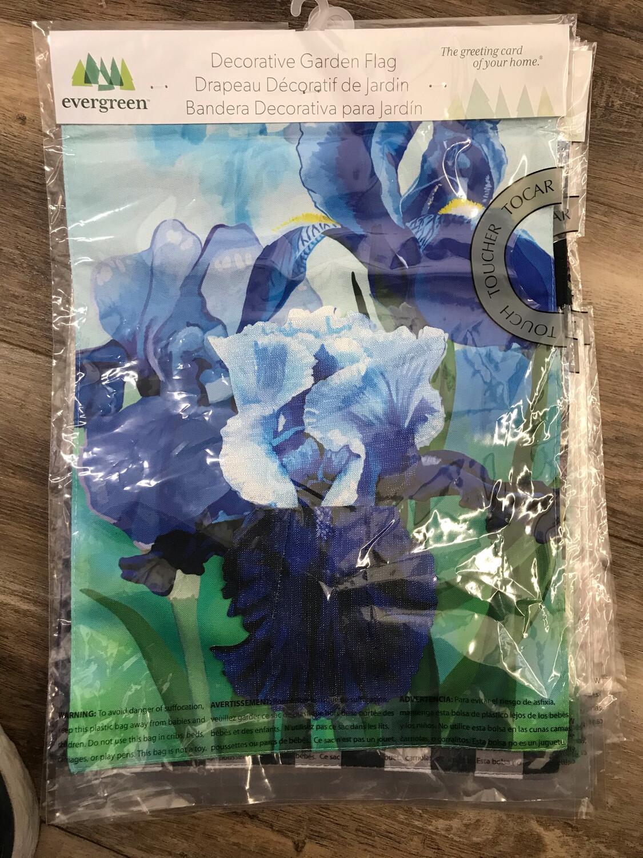 Irises Garden Linen Flag