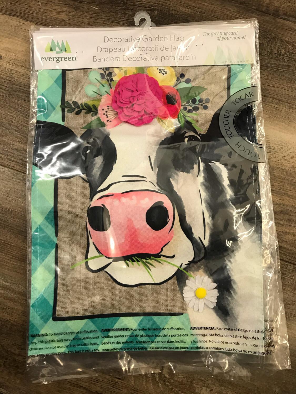 Floral Cow Garden Flag