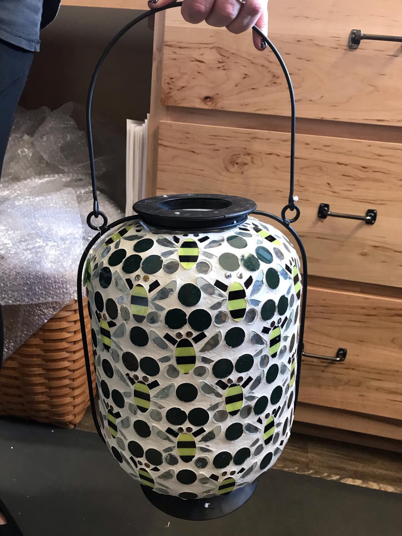 "14"" Mosaic Bee Lantern"