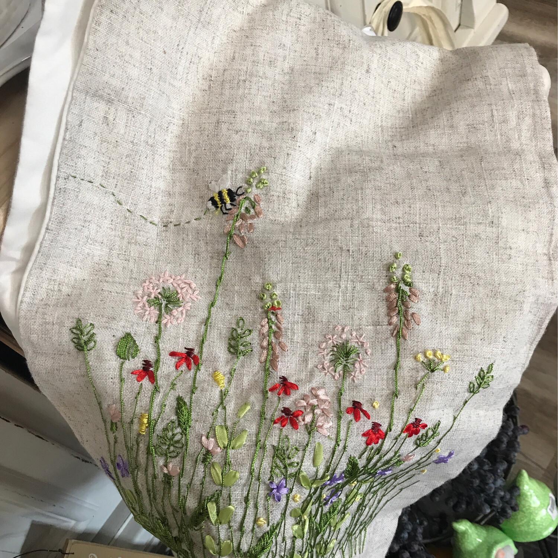 Flower Burlap Table Runner