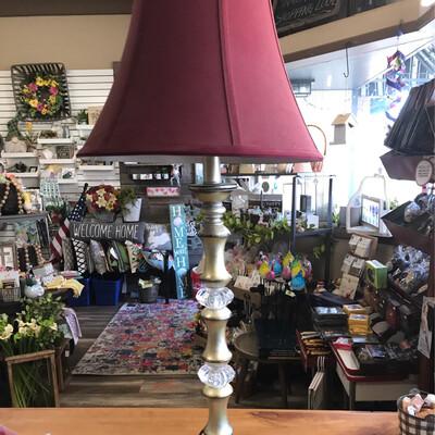 Tall Burgundy Buffet Lamp