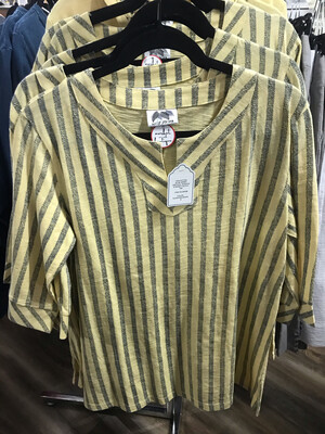 Vertical Stripes Notched Tee