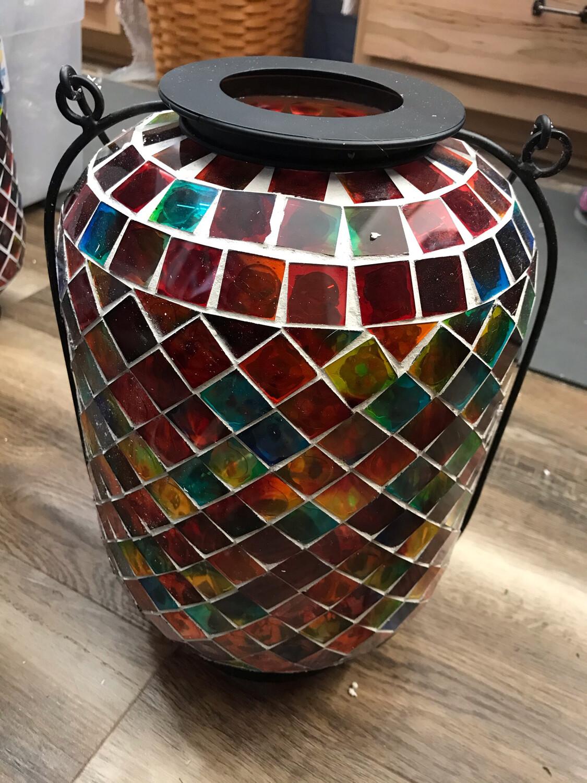 """14"""" Mosaic Glass Lantern"""