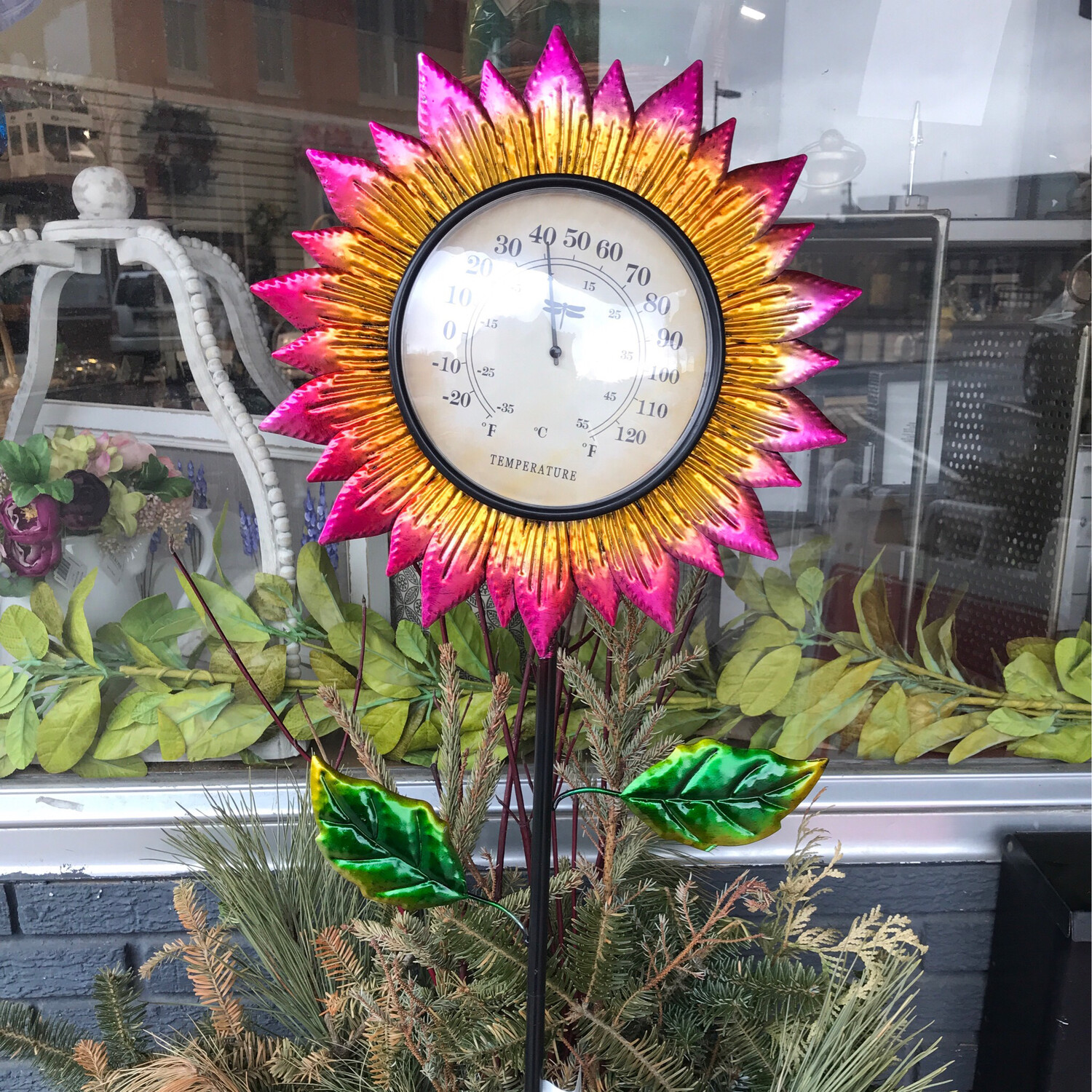 """38"""" Floral Thermometer"""