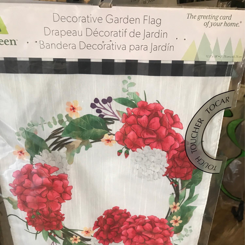 Geranium Wreath Garden Flag