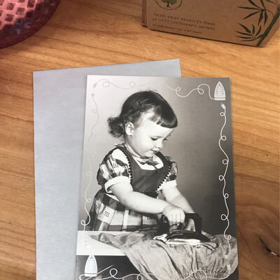 Little Girl Ironing Card