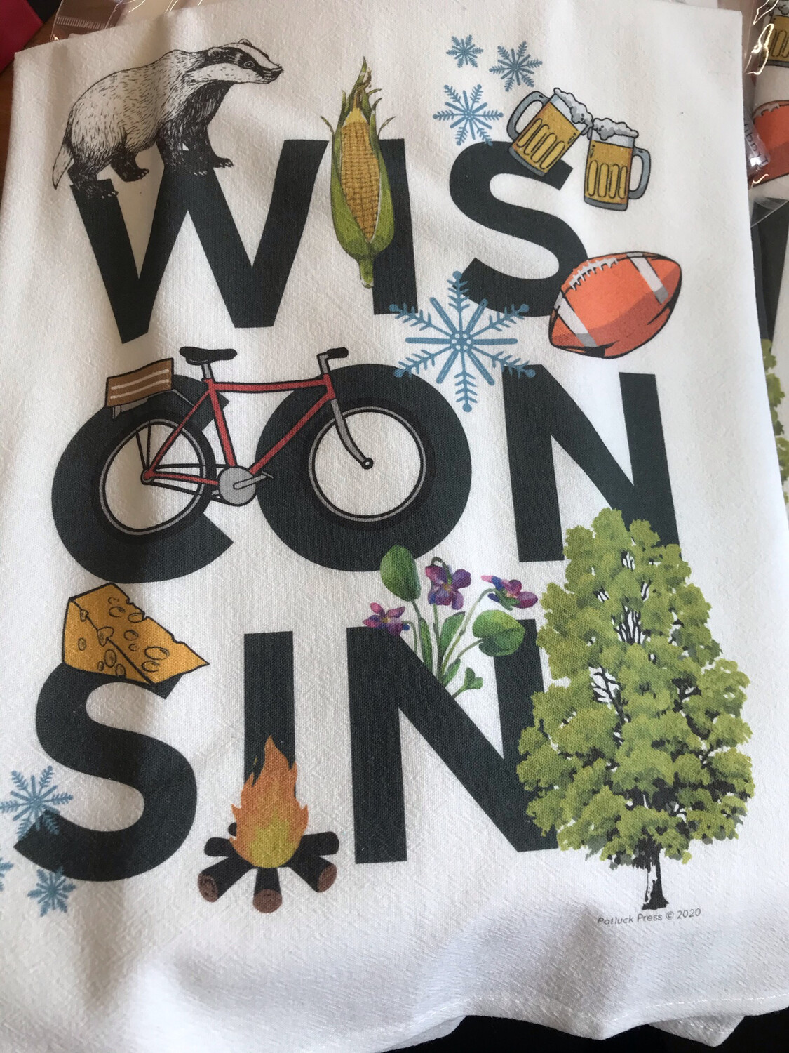 Wisconsin Themed Tea Towel