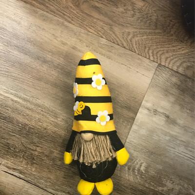 "8.5"" Bee Striped Hat Gnome"