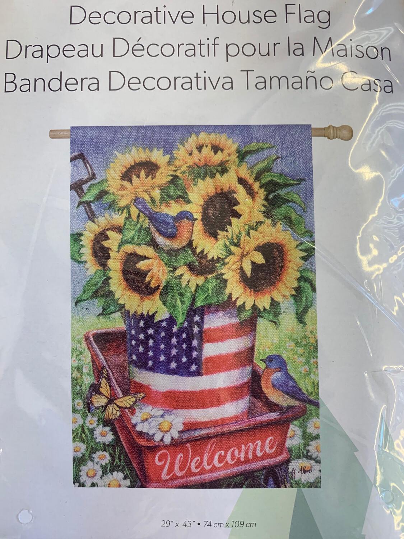 Patriotic Sunflower House Flag