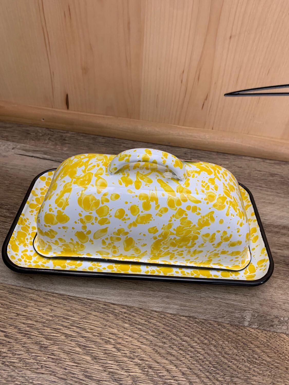 Yellow Enamel Butter Dish