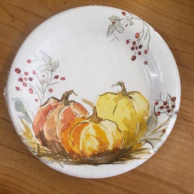 "Painted Pumpkin 8"" Plates"