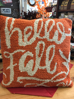 """18"""" Hooked Pillow """"Hello Fall"""""""