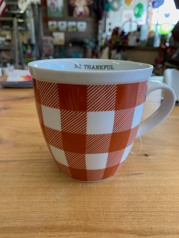 Orange & White Check Mug