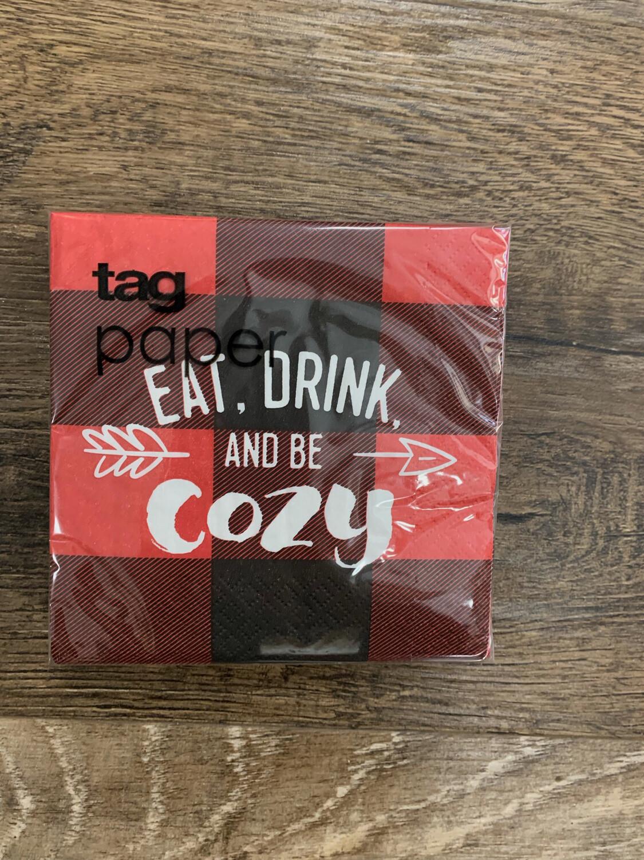 Eat Drink Cozy Cocktail Napkins