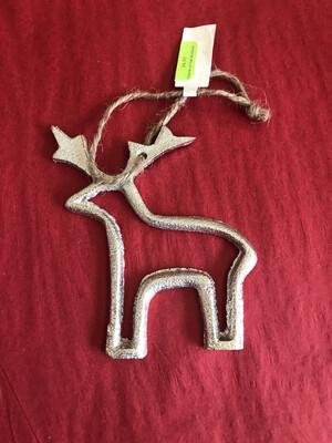 """4-1/4"""" Metal Reindeer Ornament"""