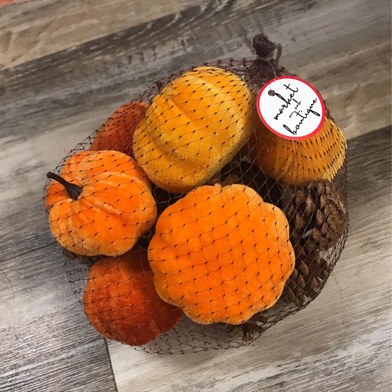 Velvet Pumpkins & Pinecones Bag