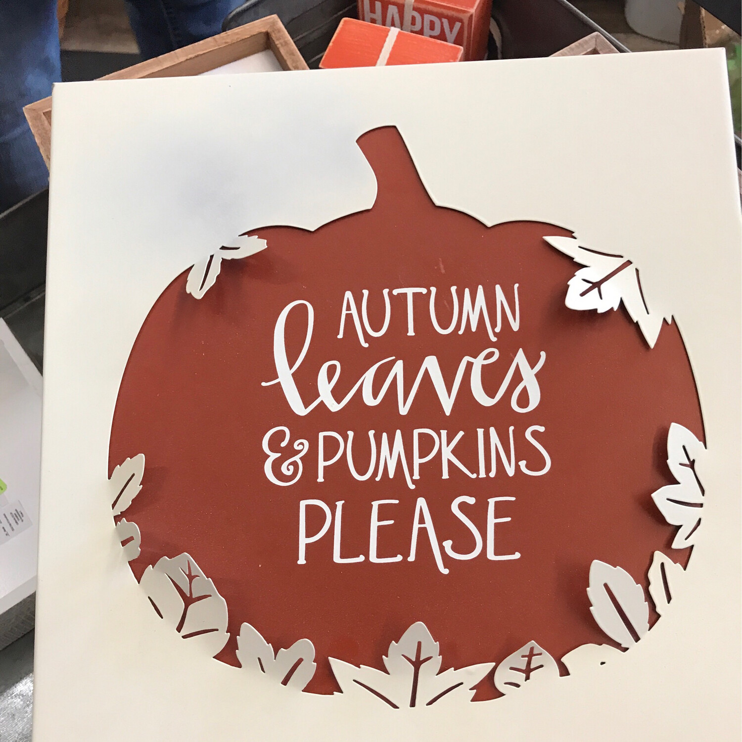 Metal Autumn Leaves Sign