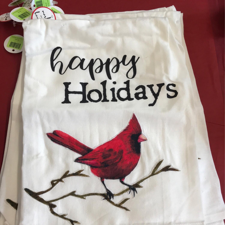 Happy Holidays Cardinal Towel