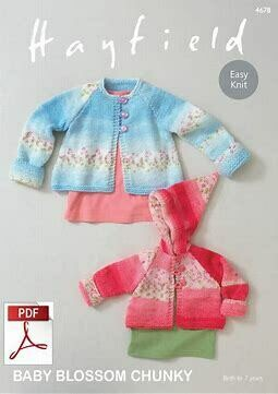 Hayfield Baby Blossom Chunky Yarn Sweaters FREE Pattern 4678
