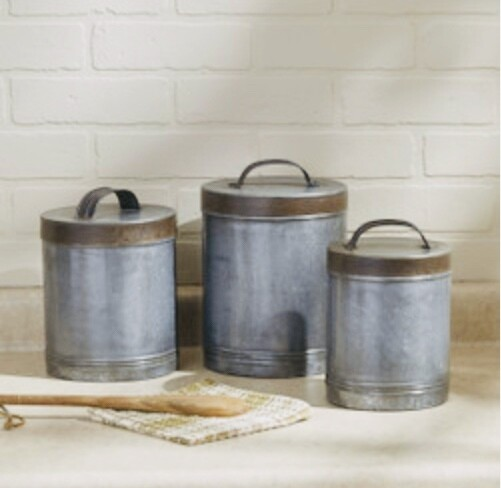 Parks Galvanized canister set of 3 23-560