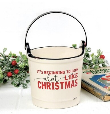 Blossom Bucket Candle in Ceramic Bucket