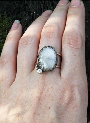 Dendritic Agate Ring with CZ Accent size 9.25