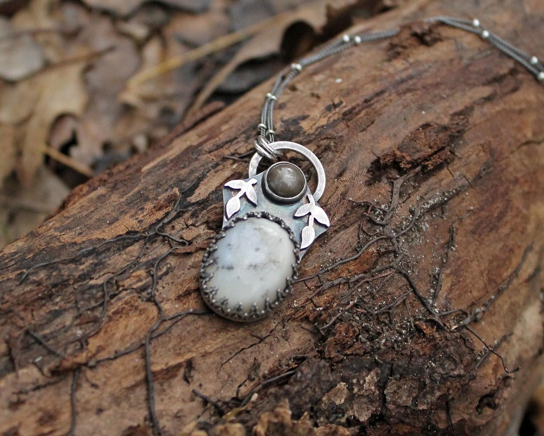 Black Star Sapphire and Dendritic Agate Pendant