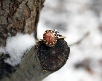 Sunstone and Gold Ring size 8