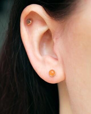 Peach Moonstone Post Earrings