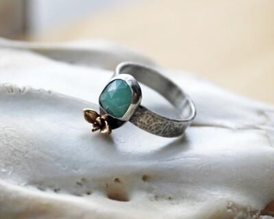 Rose Cut Emerald 14k Gold Succulent Ring size 7.5