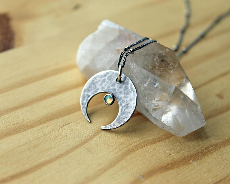 Opal Crescent Moon Pendant
