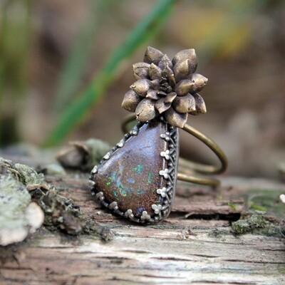 Australian Boulder Opal Succulent Ring size 9
