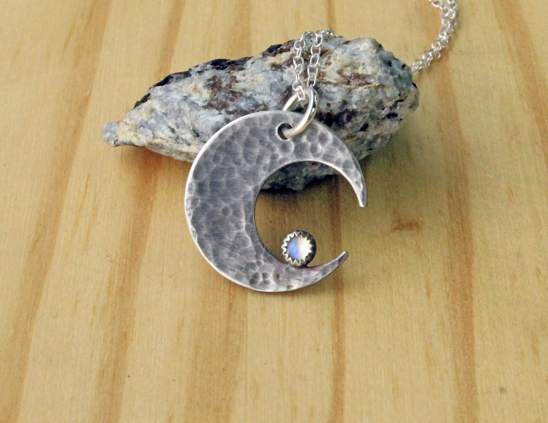 Moonstone Crescent Moon Pendant
