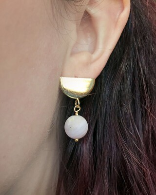 Half Moon Earrings - Peruvian Pink Opal